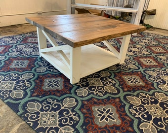 Large Farmhouse Style Coffee Table, Square Table, Provincial Brown Top, Antique White Base, Wooden Living Room Set with X Style Criss Cross