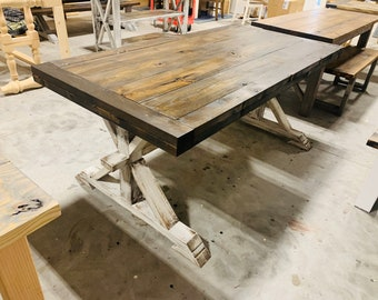 Chunky Farmhouse Table with Rustic Pedestal Base, an EspressoThick Top with Breadboards, Distressed White Base, Wooden Dinging.