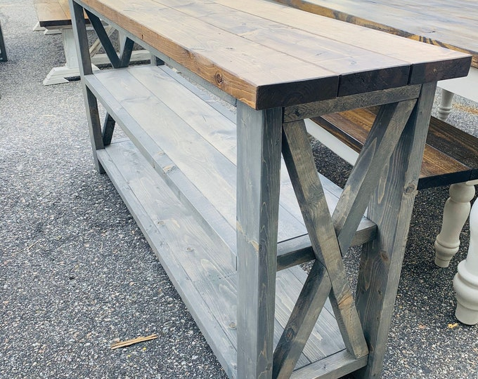 6ft Narrow Rustic Wooden Buffet Table, Rustic Console Table, Farmhouse Buffet Table, Provincial Brown Top Gray Stained Base