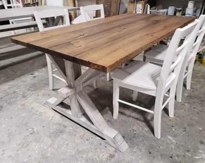 Rustic Pedestal Farmhouse Table With White Chairs Provincial Brown with White Distressed Base Dining Set