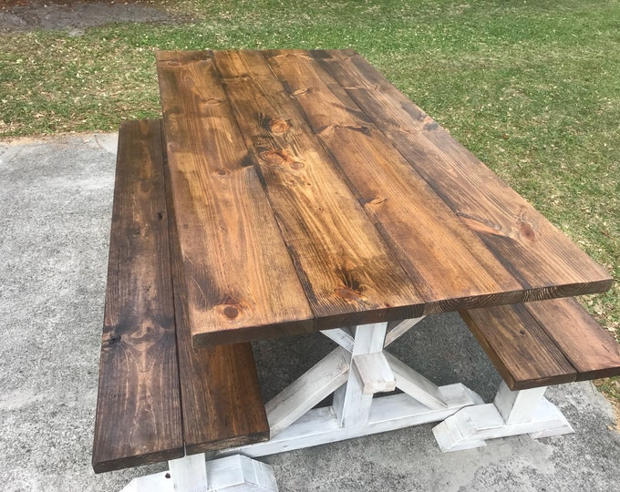 Rustic 6ft Pedestal Farmhouse Table With Long Benches Benches Provincial Brown with White Distressed Base Dining Set