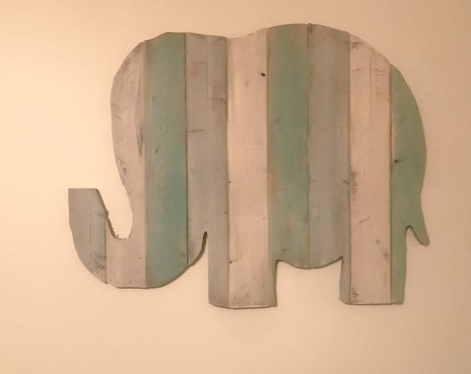 Large Wooden Rustic Elephant Distressed Sign Nursery Wall Decor or Home Colorful Wall Art