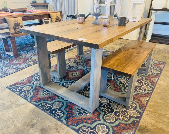 Modern Farmhouse Table Set with Benches, Provincial Brown Top with Gray Base, Wooden Rustic Dining Set, Kitchen Table