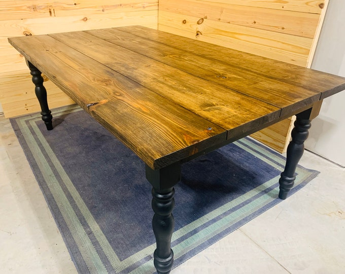 7ft Wide Rustic Farmhouse Table with Turned Legs, Dark Walnut Brown Top and  Black Base, Wooden Dining Table, Kitchen Table