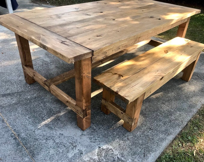 Rustic 7ft Farmhouse Table with Breadboard Ends and Bench, Walnut stained Dining Set, Wide Farmhouse Table with Trestle, Long Table