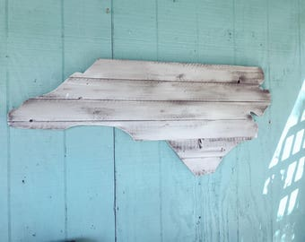 Large North Carolina Cutout Sign with a Creamy White Distressed Look NC Wall Art and NC Wall Decor