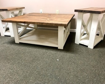 Rustic Living Room Set, Large Farmhouse Coffee Table With Set of Long End Tables, Walnut Brown Top, Creamy White Base