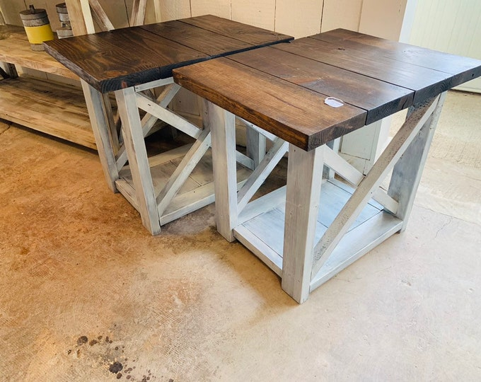 Long Rustic Farmhouse End Tables Dark Walnut Top with a Distressed Base, Side Tables with Shelve, End Table Set, X Accents Cross Brace