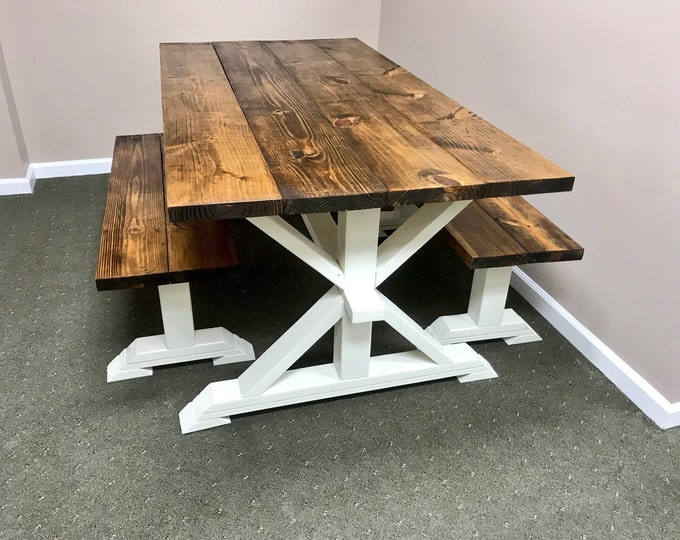 Rustic Pedestal Farmhouse Table With Benches Provincial Brown with Solid White Base Dining Set