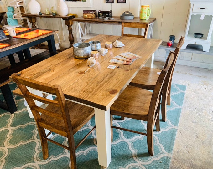 Rustic Farmhouse Table Set with Bench and Chairs, White Base and Early American Brown Top, Dining Set with Chairs Kitchen Table Set