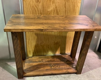 Rustic Farmhouse Entryway Table, with Honey Brown Stain Finish and Shelf Storage, Wooden Console Table, Workbench, or Buffet