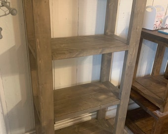 Narrow Rustic Farmhouse Style Bookshelf with a Gray Briar Smoke Finish.  Solid Wooden Shelving for Living Room or Bedroom