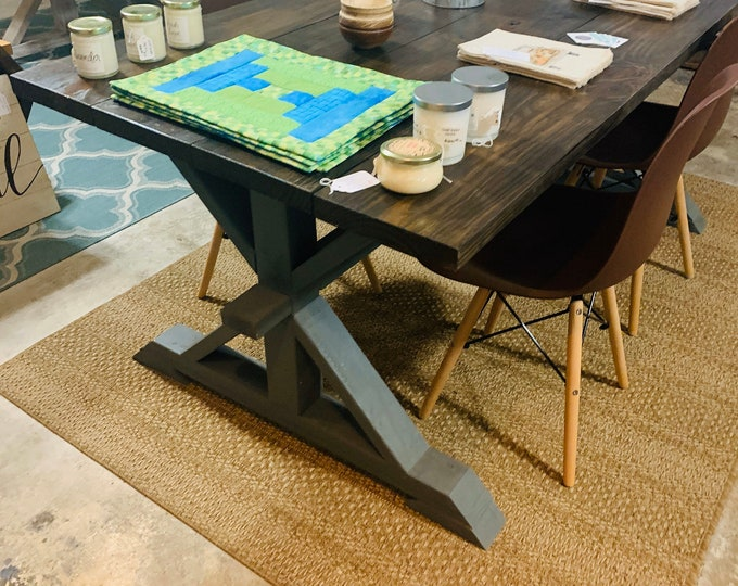 Rustic Pedestal Farmhouse Table With Modern Chairs Espresso Brown Top with a Dark Gray Base Dining Set