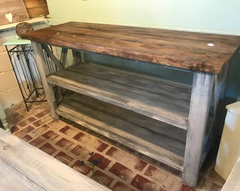 Rustic Wooden Buffet Table, Rustic Console Table, Farmhouse Buffet Table,  White Wash With Gray Base And Provincial Brown Top