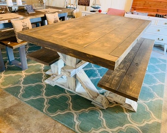 Chunky Farmhouse Table with Rustic Pedestal Base, and Benches, Brown Distressed Top with Beeadbords White Distressed Base, Wooden Dining Set