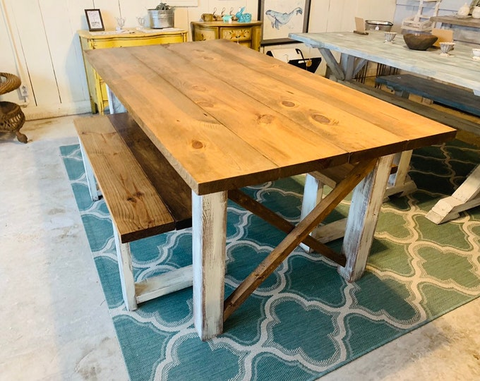 Rustic Farmhouse Table Set with Benches, Early American Brown Top, and White Distressed Base, Wooden Dining Set 6ft Table