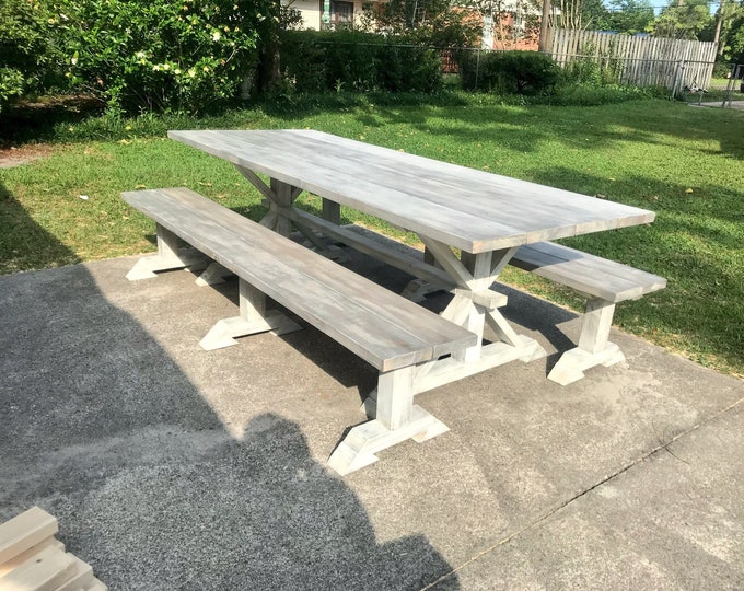 8ft Rustic Outdoor Farmhouse Table with Long Benches, Banquet Table, Large Farmhouse Table with Gray White Wash top and Distressed White Bas