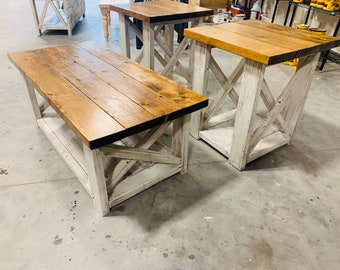 Farmhouse Living Room Set, End Tables Set and Coffee Table with Distressed White Base and Early American Top, Rustic Living Room Furniture X