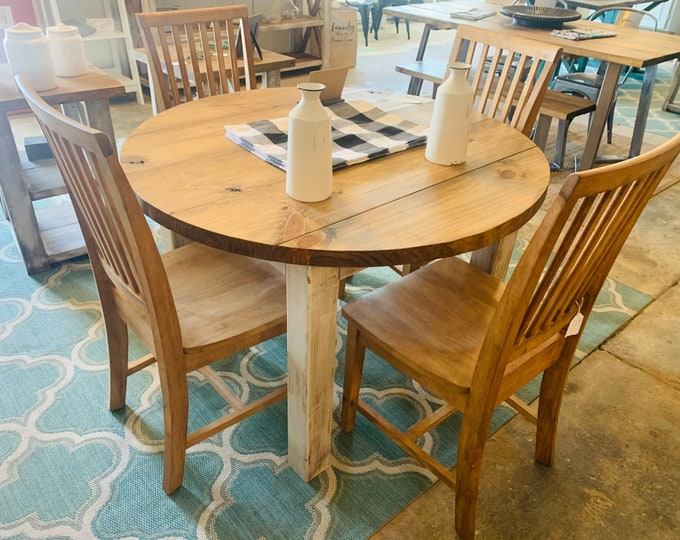 Round Rustic Farmhouse Table with chairs, Four Leg Base, Provincial Brown Top with Distressed White Base, Small Wooden Dining