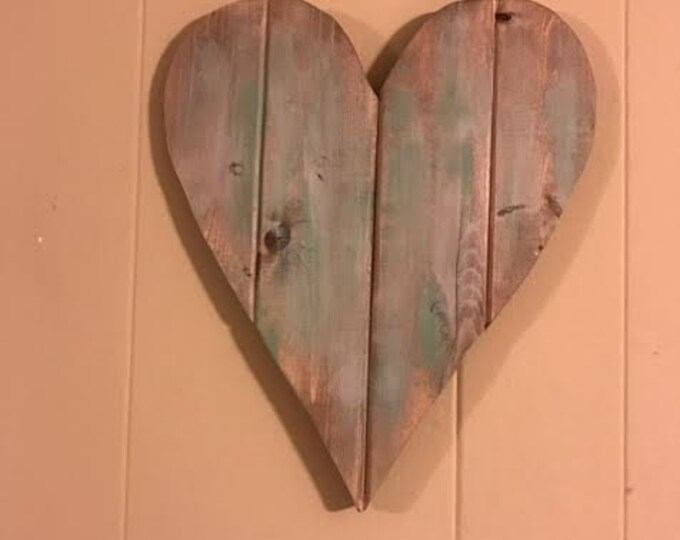 Rustic Heart Shaped Cutout Sign Wooden Wall Art and Wall Decor with an Aqua and Walnut Stain