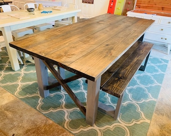 7ft Rustic Farmhouse Table with Benches, Dark Walnut Top with Weather Gray Base.  X Criss Cross Style Dining Set, Wooden Kitchen Table