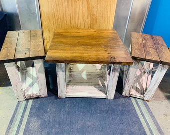 Rustic Farmhouse Living Room Set with Tall Coffee Table or Corner Table With Two End Tables, Set, White Distressed, Provincial Brown Top