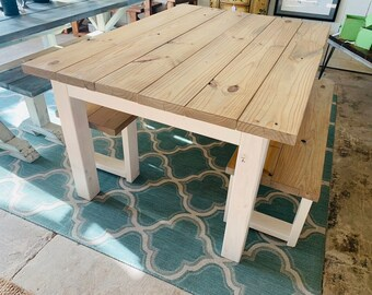 Small Farmhouse Table, Rustic Wide Farmhouse Table with Benches, Wathered Oak Dining Set With White Base, 5ft Table and Benches.