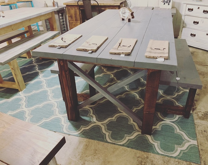 Rustic Farmhouse Table Set with Benches, Weathered Gray Top and Dark Walnut Base, X Accents Dining Table Wooden Kitchen Set