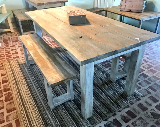 White Wash Farmhouse Table With Benches Rustic Wooden Gray White Wash Top and Creamy White Distressed Base Dining or Kitcen Table