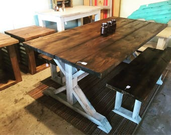 Rustic Pedestal Farmhouse Table With Benches Dark Walnut with White Distressed Base Dining Set