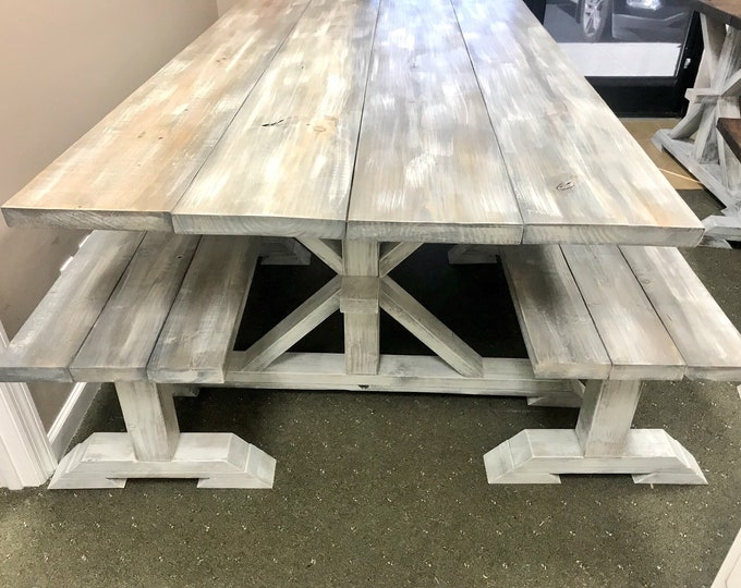Rustic Long Pedestal  Farmhouse Table With Benches Gray White Wash with White Distressed Base Wide Dining Set
