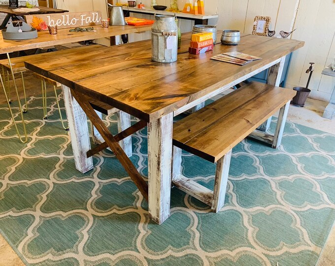Rustic Farmhouse Table Set with Benches, Provincial Brown Top, and White Distressed Base, Wooden Dining Set 6ft Table