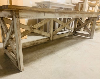 Long Rustic Farmhouse Desk with A Dark Walnut Top and White Distressed Base, X Style Accents, 8ft Desk, Deep Office Desk