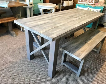 Rustic Wooden Farmhouse Table Set with Gray White Wash Top and Classic Gray Base Criss Cross Style Includes Two Benches