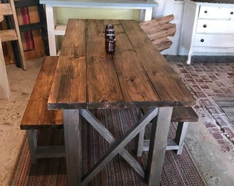 Delicieux Rustic Wooden Farmhouse Table Set With Provincial Brown Top And Classic  Gray Base Criss Cross Style Includes Two Benches