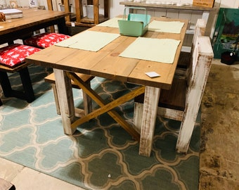 Rustic Farmhouse Table Set with an Early American Brown Top White Distressed Base, Dining Set with Bench and Chairs X Design In Stock