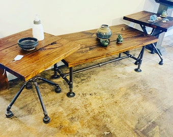 Rustic Industrial Living Room Set, Steel Pipe Base End Tables Set and Coffee Table with a Provincial Brown Top, Modern Farmhouse