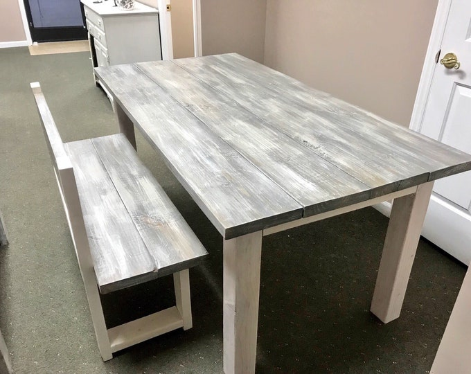 White Wash Farmhouse Table With Bench with Back Rustic Wooden Gray White Wash Top and Creamy White Distressed Base Dining or Kitcen Table