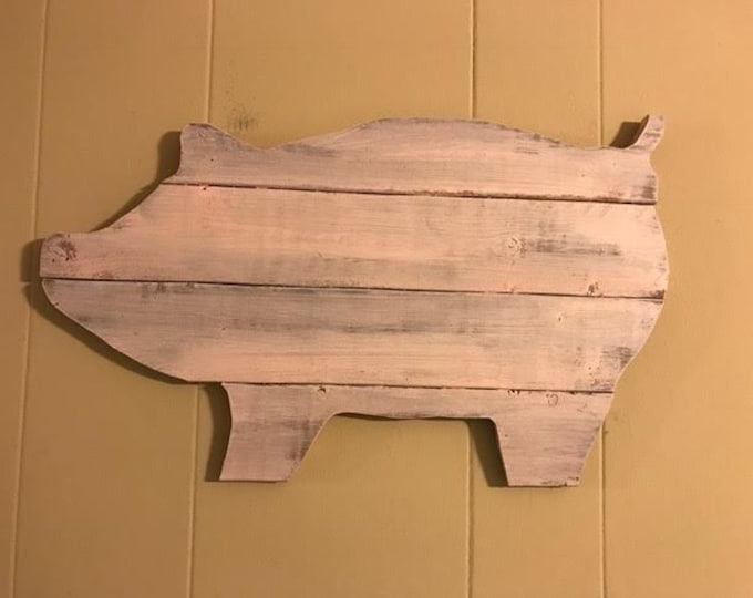 Pink Distressed Pig Wall Art and Wood Wall Decor with a Shabby Chic and Farmhouse Look