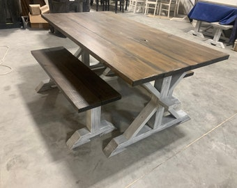 Rustic Pedestal Farmhouse Table With Benches Dark Walnut Brown with White Distressed Base Dining Set In Stock