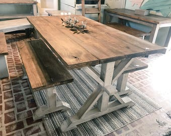 Merveilleux Rustic Pedestal Farmhouse Table With Benches Provincial Brown With White  Distressed Base Dining Set