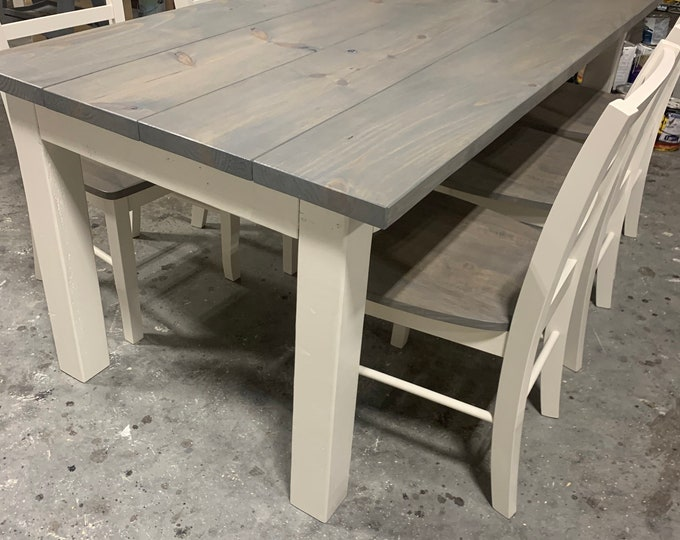 Custom Rustic Farmhouse Table with Chunky Legs, Chair Set Classic Gray Top and Antique White Base, Wooden Dining Set