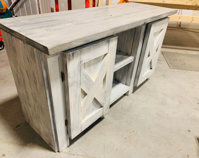 Rustic Farmhouse Buffet Distressed White Base and Gray White Wash Top, Wooden Cabinet with Doors, Server, Entertainment Stand with Storage