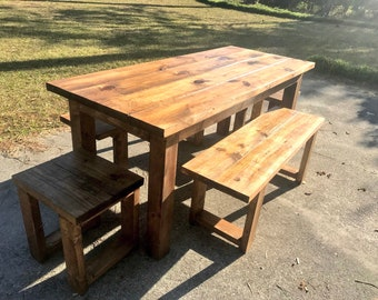Rustic Wooden Farmhouse Table Set with Provincial Brown Top and Base Includes Two Benches and End Stools Dining Set