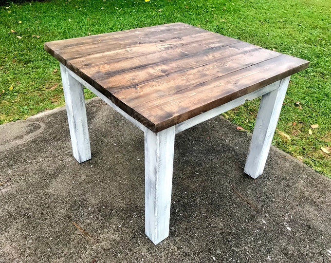 Square Farmhouse Table, Rustic Farmhouse Table, Dark Walnut Top Gray White Wash Base, Wooden Dining Table