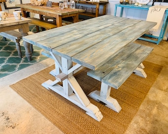 Rustic Pedestal Farmhouse Table With Benches Worn Navy Top with White Wash with White Distressed Base Dining Set Beach Decor