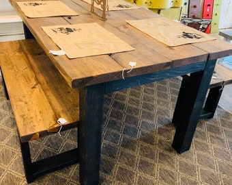 Small Modern Farmhouse Table 5ft with Benches, Black Legs and Provincial Brown Top, Modern Wooden Dining Set
