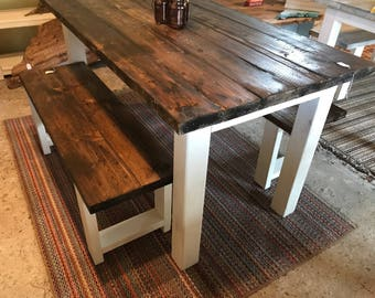 Small Farmhouse Table, Rustic Farmhouse Table With Benches, Espresso Dining  Set With White Base, 5ft Table And Benches.