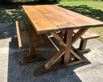 Rustic Pedestal Farmhouse Table With Benches Provincial Brown Dining Set Handmade Trestle Style Farmhouse Table