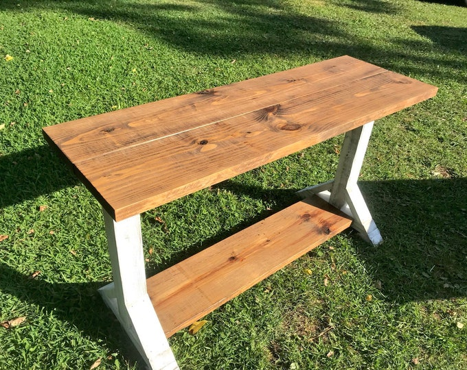 Long Rustic Farmhouse Pedestal Entryway Table, Farmhouse Buffet Table, Proventail Brown Top and Creamy White Distressed Base